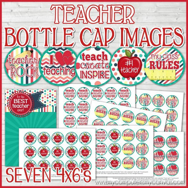 "TEACHER 1"" Bottle Cap Images Printable DOWNLOAD"