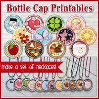 "Annual 1"" Bottle Cap Image Collection, Monthly Holiday Printable DOWNLOAD"