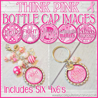"BREAST CANCER Awareness 1"" Bottle Cap Images Printable DOWNLOAD"