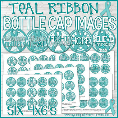 "Ovarian Cancer AWARENESS Ribbon 1"" Bottle Cap Images Printable DOWNLOAD"