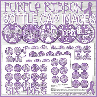 "Pancreatic Cancer AWARENESS Ribbon 1"" Bottle Cap Images Printable DOWNLOAD"