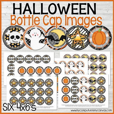 "HALLOWEEN, SPOOKY CUTE 1"" Bottle Cap Images"