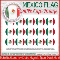 "MEXICO FLAG 1"" Bottle Cap Images Printable DOWNLOAD"