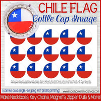 "Chile FLAG 1"" Bottle Cap Images Printable DOWNLOAD"