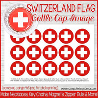 "SWITZERLAND FLAG 1"" Bottle Cap Images Printable DOWNLOAD"