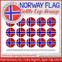 "Norway FLAG 1"" Bottle Cap Images Printable DOWNLOAD"