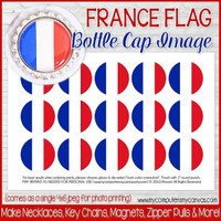"France FLAG 1"" Bottle Cap Images Printable DOWNLOAD"