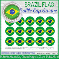 "Brazil FLAG 1"" Bottle Cap Images Printable DOWNLOAD"