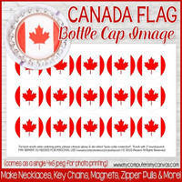 "Canada FLAG 1"" Bottle Cap Images Printable DOWNLOAD"