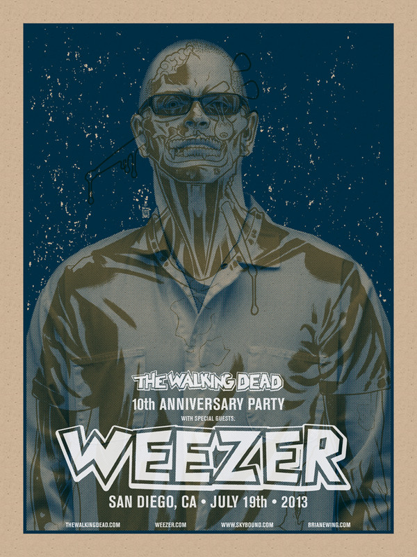 WEEZER WALKING DEAD CHOKING BLUE SET OF 4 PRINTS