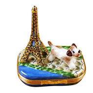 Eiffel Tower W/Jack Russell Terrier Rochard Limoges Box