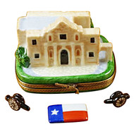 The Alamo W/Cannons And Texas Flag Rochard Limoges Box