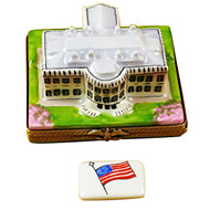 White House W/Removable Flag Rochard Limoges Box