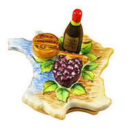 Map Of France W/Wine/Grapes/Cheese Rochard Limoges Box
