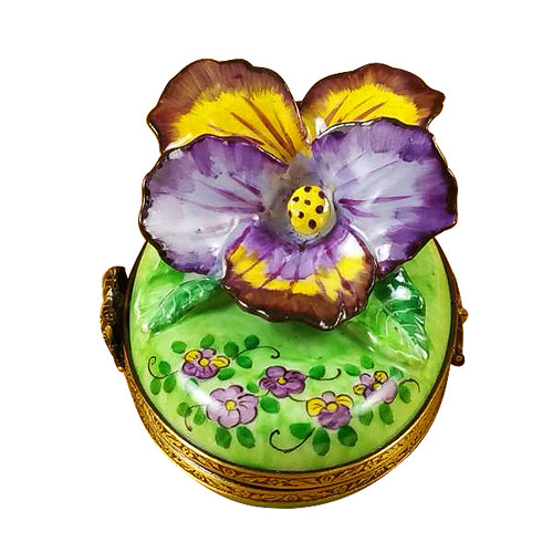 Pansy - Purple & Yellow Rochard Limoges Box