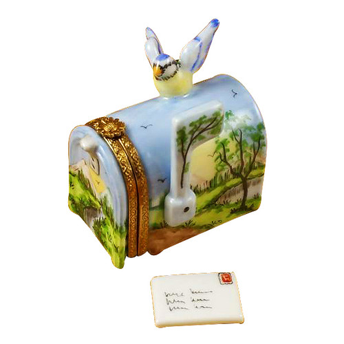 Mailbox With Landscape And Removable Letter Rochard Limoges Box