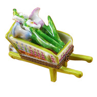 Wheelbarrow Lime Green W/Cut Flowers Rochard Limoges Box