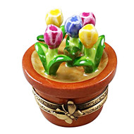 Multi Color Tulips In Terracota Pot Rochard Limoges Box