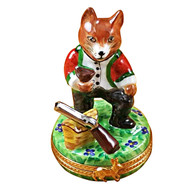 Limoges Imports Hunting Fox W/Gun Limoges Box
