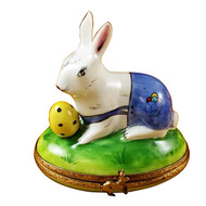 Limoges Imports Rabbit With Egg Wearing Blue Pants Limoges Box