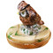 Limoges Imports Brown Owl On Tree Trunk Limoges Box