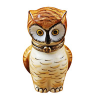 Limoges Imports Stand Alone Brown Owl Limoges Box