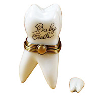 Limoges Imports Large White Baby Tooth W/Removable Tooth Limoges Box