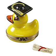 Limoges Imports Yellow Duck With Graduation Cap With Removable Diploma Limoges Box