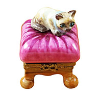 Limoges Imports Cat On Pink Pillow Limoges Box