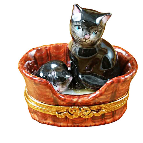 Limoges Imports Black Cat With Kitten In Basket Limoges Box