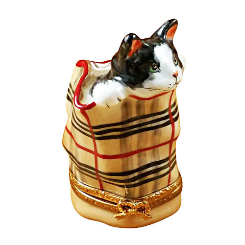 Limoges Imports Cat In Burberry Bag Limoges Box