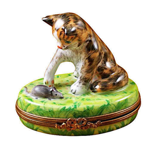 Limoges Imports Cat With Mouse Limoges Box
