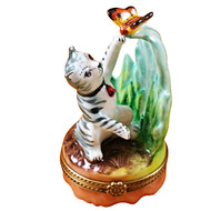 Limoges Imports Grey Cat & Butterfly Limoges Box