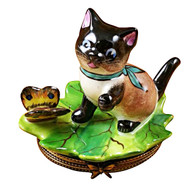 Limoges Imports Siamese Cat W/Butterfly Limoges Box