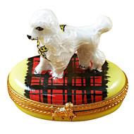 Limoges Imports Poodle On Blanket Limoges Box