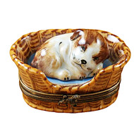 Limoges Imports Dreaming Dog In Basket Limoges Box