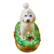 Limoges Imports White Poodle Green Base Limoges Box