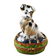 Limoges Imports Black/White Tramp Dog Limoges Box