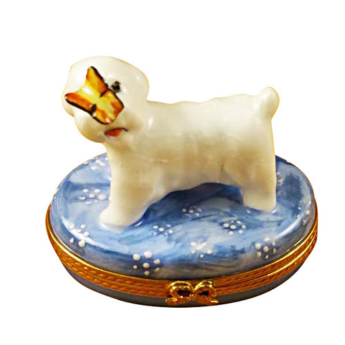 Limoges Imports Bichon W/Butterfly Limoges Box