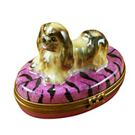 Limoges Imports Pekingese On Purple Base Limoges Box