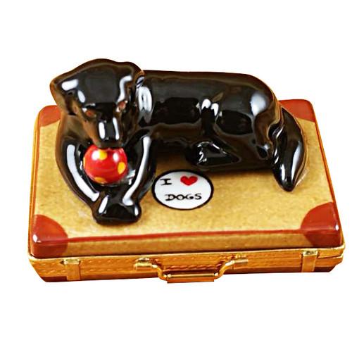 Limoges Imports Black Lab On Suitcase Limoges Box