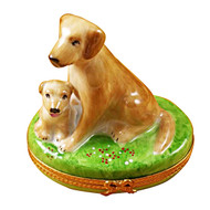 Limoges Imports Beige Lab W/Puppy Limoges Box