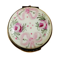 Limoges Imports Pink Flowered Round Limoges Box