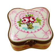 Limoges Imports Pink Flowery Square Limoges Box