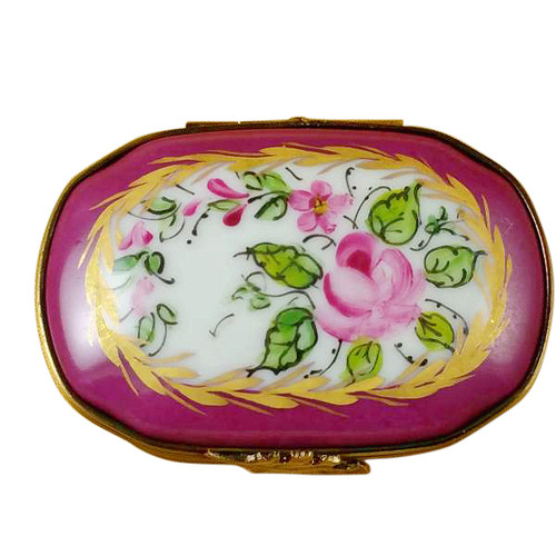 Limoges Imports Burgundy Chest With Flowers Limoges Box