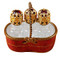 Limoges Imports Red Basket W/3 Bottles Limoges Box