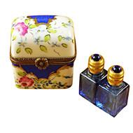 Limoges Imports Blue Flowers W/2 Blue Bottles Limoges Box