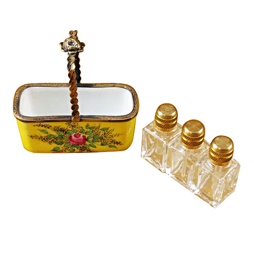 Limoges Imports Yellow Basket W/3 Bottles Limoges Box