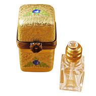 Limoges Imports Gold Tall W/1 Bottle Limoges Box