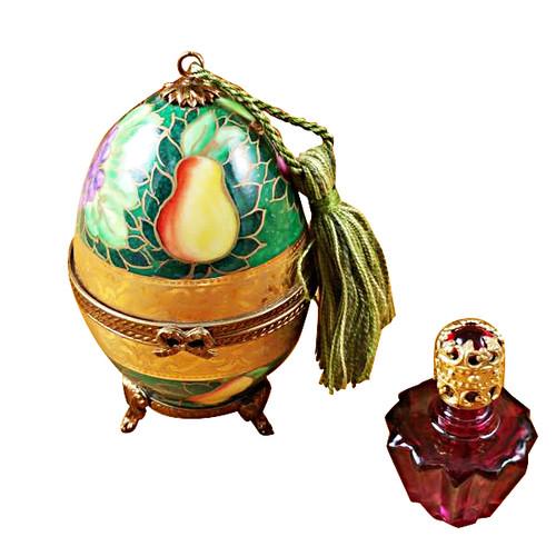 Limoges Imports Green-Rose Egg W/1 Bottle Limoges Box